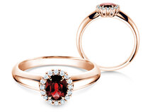 Anello di Fidanzamento Windsor in 18K oro rosa con rubino 0,60ct e diamanti 0,12ct